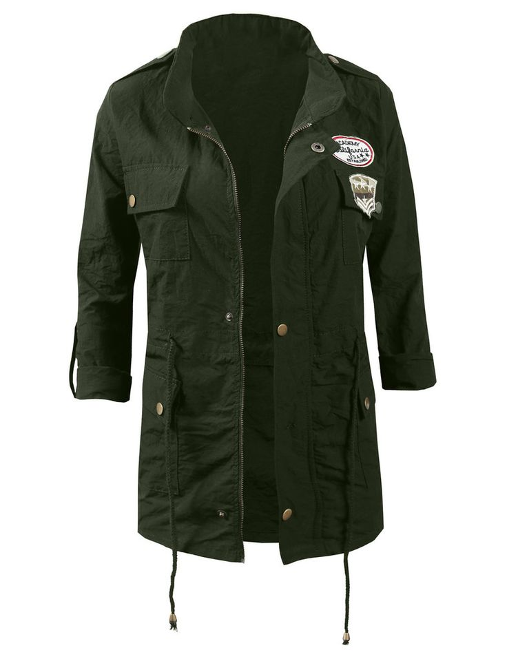 LE3NO Womens Studded Military Anorak Jacket