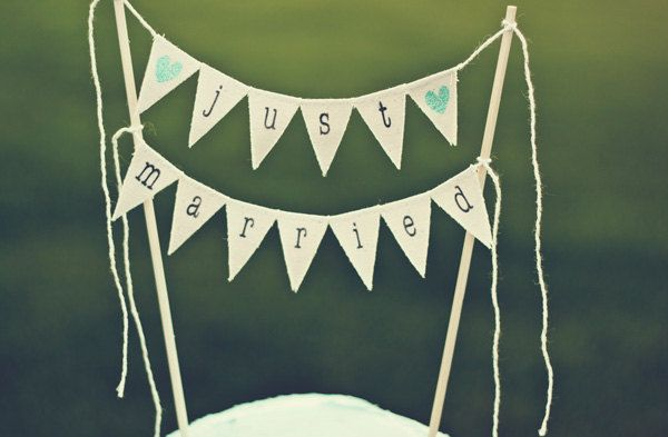 Just Married Wedding Cake Topper Banner with by TheGlitteredBarn, $27.00