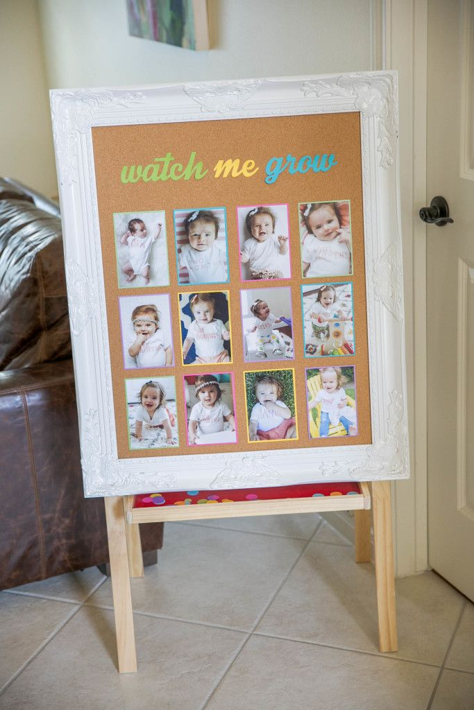 """Adorable """"Watch Me Grow"""" sign to display monthly photos at first birthday party - cute!"""