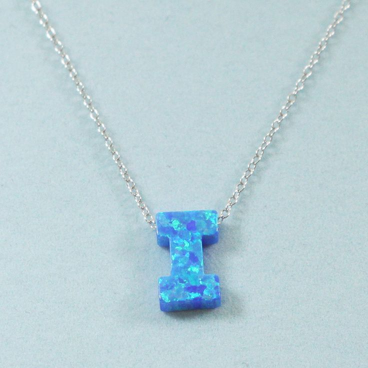 925 Sterling Silver Opal I-Initial Pendant Necklace