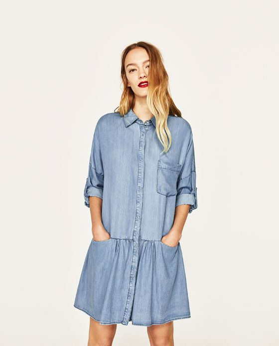 SHIRT DRESS WITH FRILL