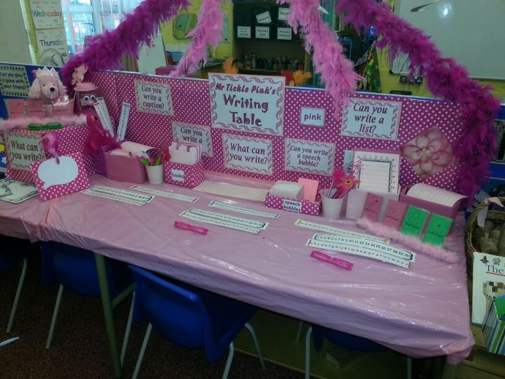 Mr Tickled Pink's new writing table. LG☆ | EYFS Class 1 ...