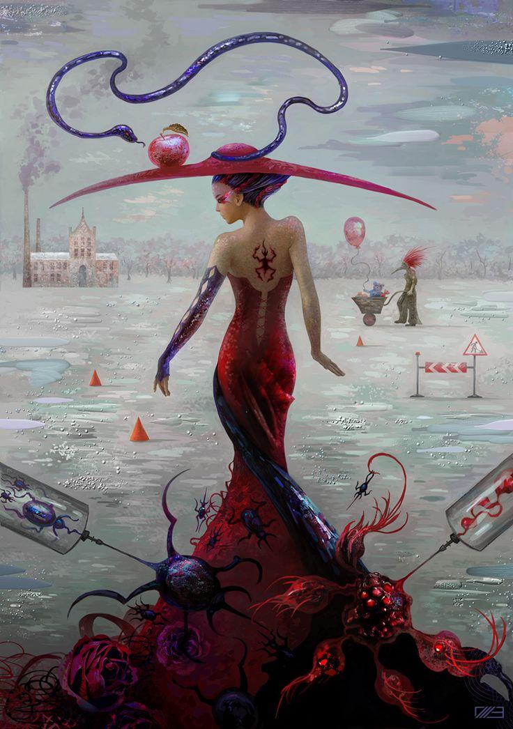 'Inner war' created for slashTHREE Exhibition #20 #woman #digital #painting #cg #stilllife #dress #snow #surreal #graphic #artwork #illustration #single #insect #dark #gothic #blood #bloody #mind #mental #skary #female #train #back #corset #tattoo #gothic #mind #mental #sadness #melancholic #glove