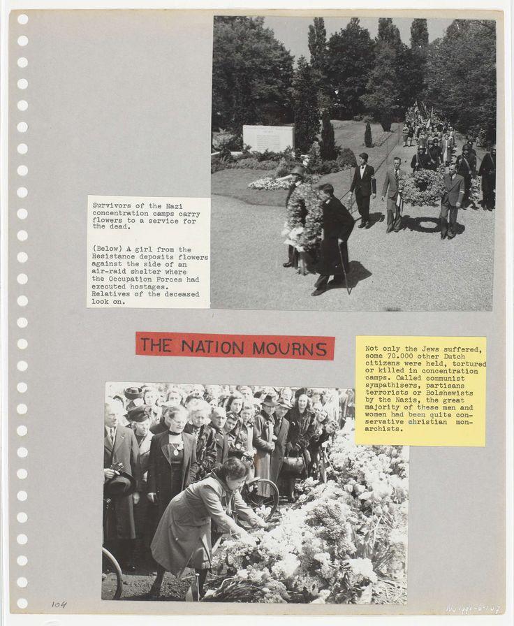 Anonymous | Herdenking van de slachtoffers, Anonymous, 1945 | Twee foto's van kort na de bevrijding. Foto boven: overlevenden van een concentratiekamp leggen bloemen op een begraafplaats. Foto onder: een deelneemster van het verzet legt bloemen op een plek waar gijzelaars zijn geexecuteerd.