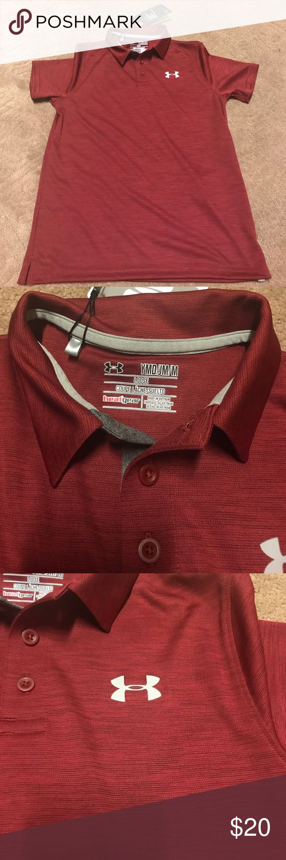 Under Armour Polo Shirt Brand New Youth Under Armour heat Gear  polo shirt Size Medium (loose fit See size tag) color is Burgundy Logo is Gray. Under Armour Shirts & Tops Polos