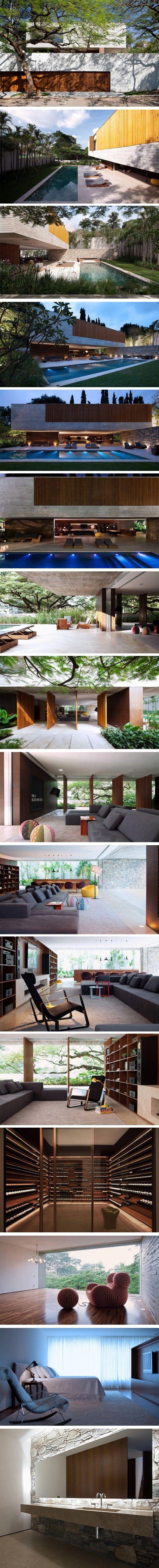 Volume en béton sur base en verre Très belle réalisation du StudioMK27, l'Ipês House située au Brésil, est une résidence imposante mais à la fois aérée et