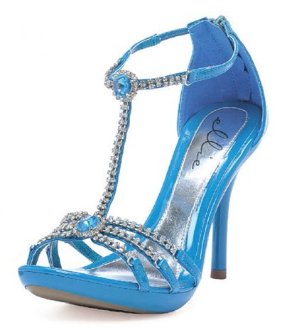 "4"" Blue Teal Rhinestones Pageant Prom Heels Salsa Dance Shoes Womans Size 8"