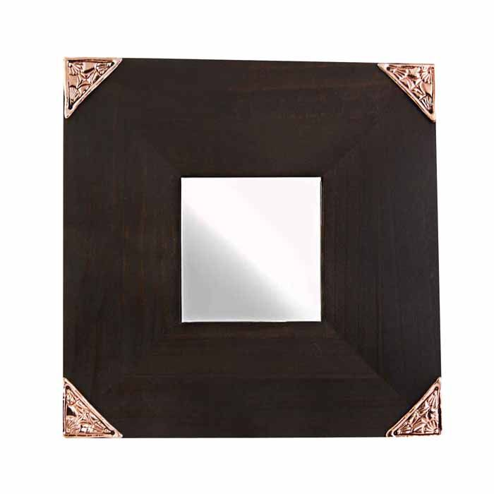 Wooden mirror with decorative pattern on its four corners. The sculpture is made by the artist Marios Voutsinas. Dimensions: 25 cm x 25 cm x 1 cm  Coppe