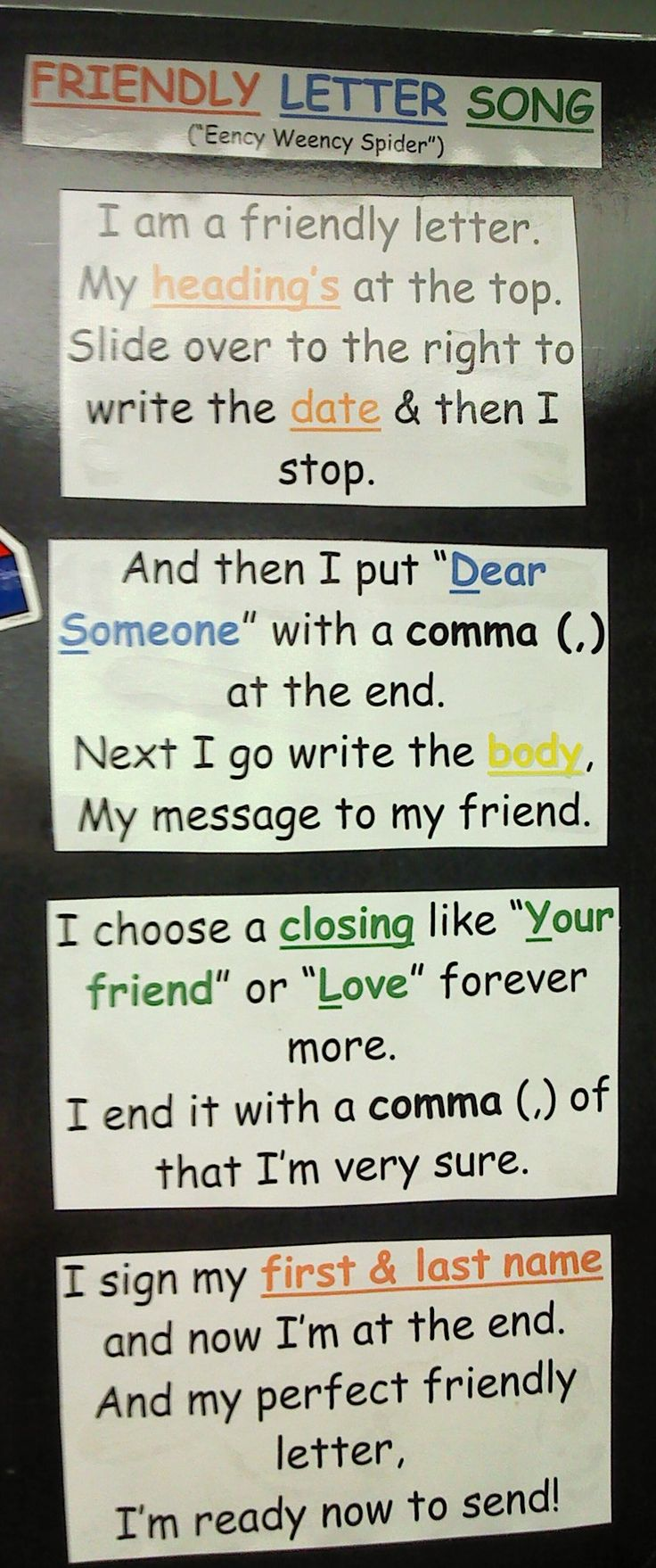 format of english letter%0A friendly letter poem