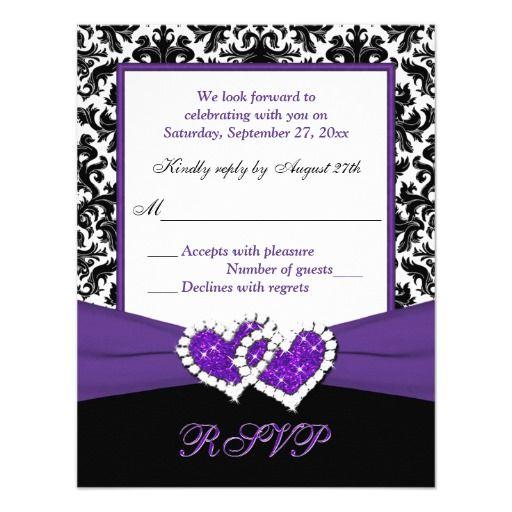 Black, White, Purple Damask & Hearts Reply Card