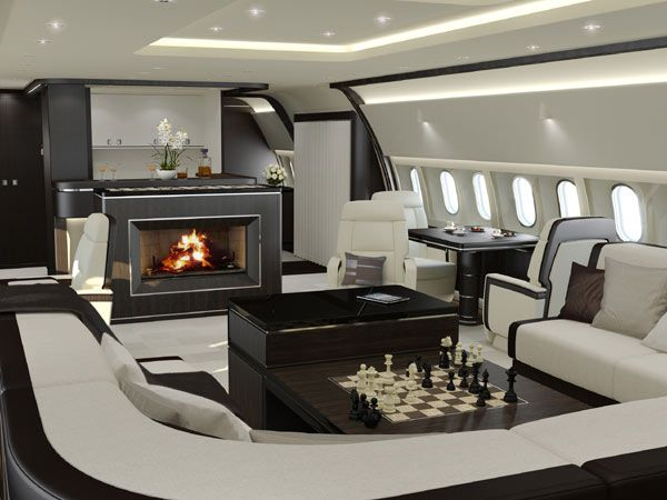 Luxury Interiors Fireplace Included For Your Private Jet