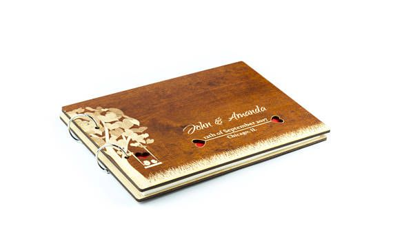 Rustic Wedding Guest Book, Wood Guest Book, Custom Guest Book, Wedding Album.  It`s an unique Wedding Guest Book for this special day. All your guests will be happy to leave a message to the newlyweds. It will become very personal to you.  It`s made of birch plywood in natural or mahogany color. Inside we used 160gsm premium ivory ecru paper.  Dimensions: 222x324 mm (8.7x12.7 inch.) with A4 paper inside.  You may choose paper quantity from the drop-down menu.  To complete the order ...