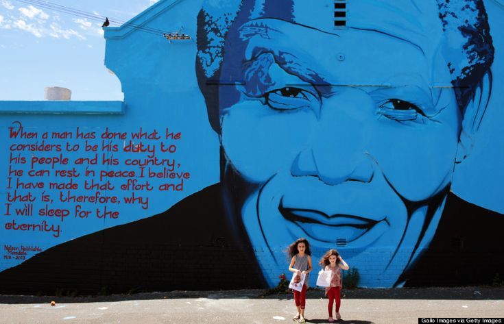 A mural of Nelson Mandela by graffiti artist Mak1One on December 7, 2013 in Cape Town, South Africa.