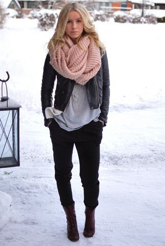 Boyfriend pants and shirt with leather coat and salmon scarf.