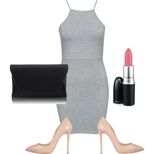 Nude/grey by louisesandstroms on Polyvore featuring NLY Trend, Tony Bianco and MAC Cosmetics