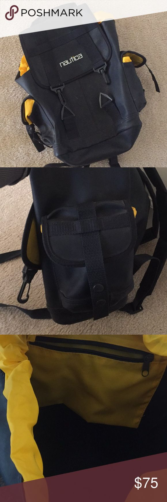 😎NAUTICA Backpack SALE!!😎 Nautica backpack sale! For men, women or kids. Navy blue and yellow backpack. Roomy inside plus zip pocket for money or other. Two side pockets. Very classy and stylish.  A perfect gift or treat for yourself!!! Nautica Bags Backpacks
