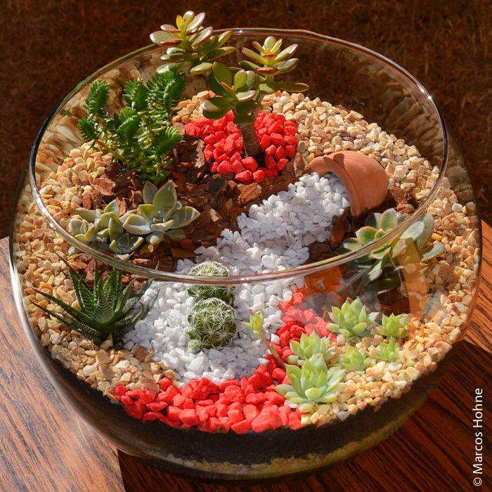 Recebi mais uma encomenda para fazer um jardim em miniatura num terrário. Desta vez decidi variar a cor do acabamento, usando pedriscovermelho. Também quis adicionar um vaso de barro em miniatura.…