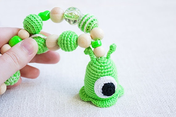 OOAK Brain Slug Teething Nursing necklace for by NecklacesForMommy, $39.00