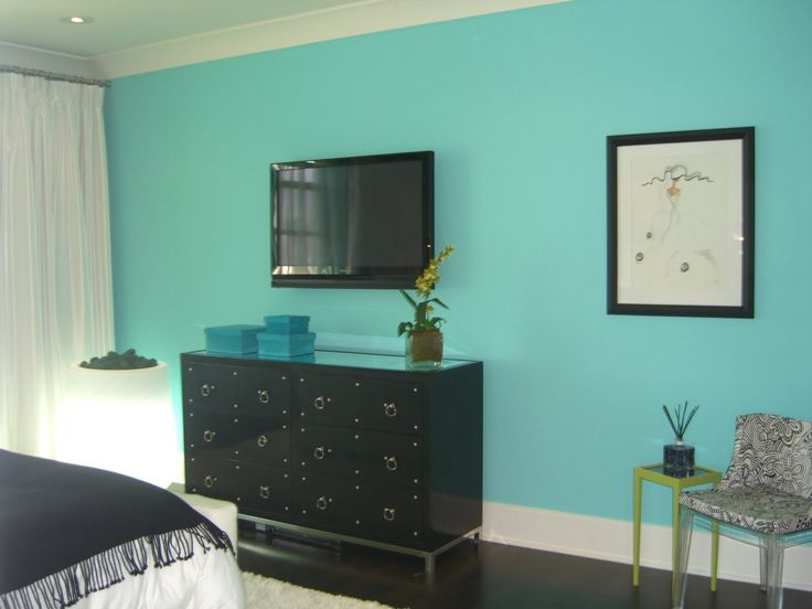 turquoise accent wall living room