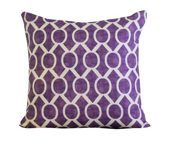 Purple pillows make perfect at $30 each.