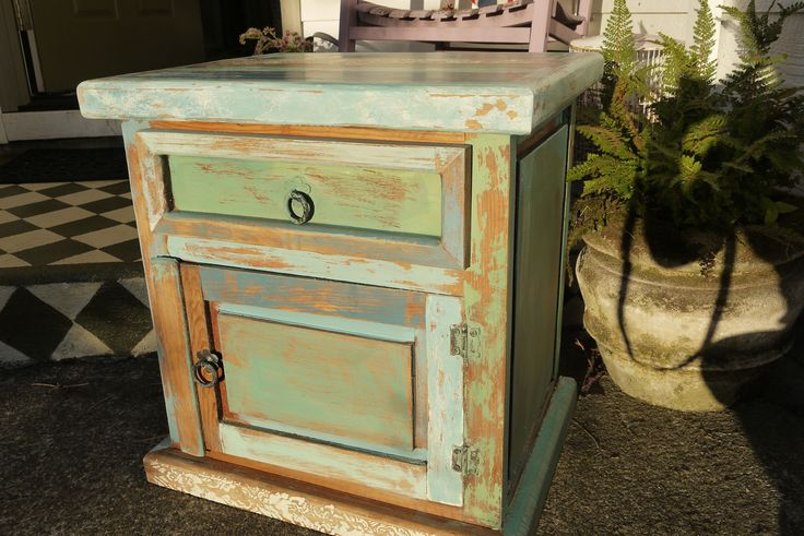 Mexican pine nightstand distressed with chalk paint crackle tex by thepaintfactory we love for Distressed pine bedroom furniture