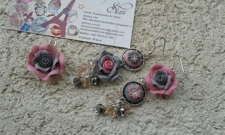 http://accessoriesforstars.blogspot.ro/2015/01/set-soft-colours.html #pink #silver #earrings #pendants #swarovski #crystals #gradient #vintage #asymmetricearrings #sets #accessoriesforstars #antiquesilver #gray
