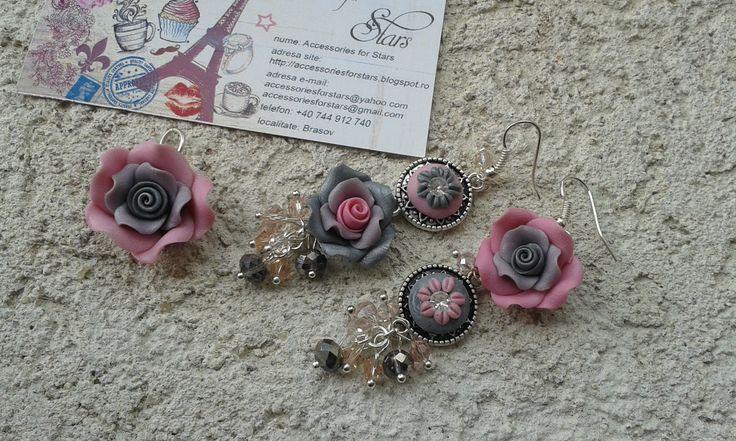 http://accessoriesforstars.blogspot.ro/2015/01/set-soft-colours.html #pink #silver #earrings #pendants #swarovski #crystals #gradient #vintage #asymmetricearrings #sets #accessoriesforstars #antiquesilver #gray