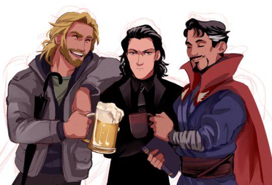 Thor, Loki, and Doctor Strange,  Marvel superheros