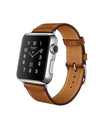 Apple Watch Hermes ⌚ Simple Tour Boîtier en acier inoxydable de 42 mm Bracelet en cuir Barénia Fauve