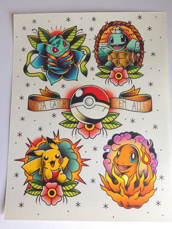 Gotta Catch Em All!  -Print of tattoo flash inspired by Pokémon. -8.5x11 inches. -Reproduction of the original piece which was created with watercolor and digitally. -Printed on high quality 115 lb textured canvas paper. -Actual color of print may slightly vary due to ink and computer monitor settings.  Ships first class parcel in a rigid photo mailer with a piece of cardboard for extra support.  Please message for international shipping or if you would like to request a different size or…