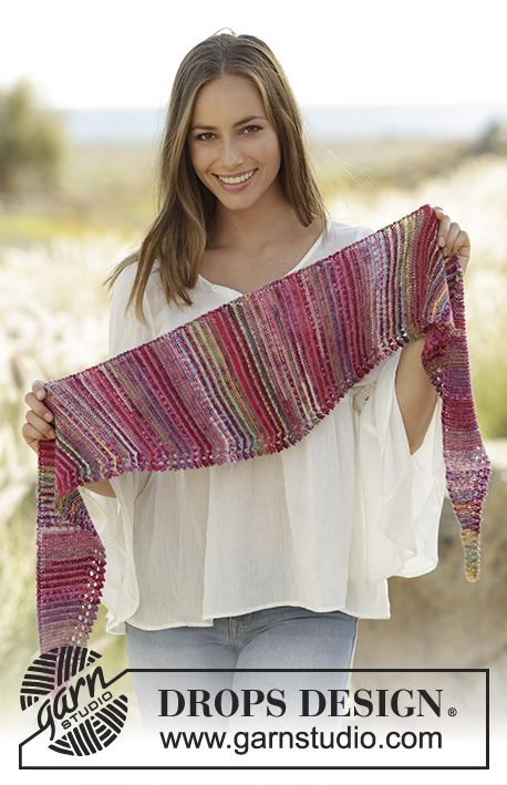 Knitted shawl with stripes and picot edge, worked sideways in garter stitch in DROPS Fabel. Free pattern by DROPS Design.