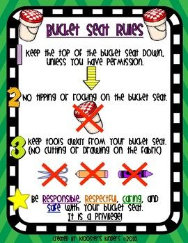 This product includes a one page poster describing the three main rules my students must follow in order to use bucket seats in my classroom. If any of these rules are broken, students must trade in their bucket seat for a regular chair.These rules can be posted in the classroom and are complete with accompanying pictures to help younger students remember each rule.I have also created a flexible / alternative seating rules poster, that you can find here…
