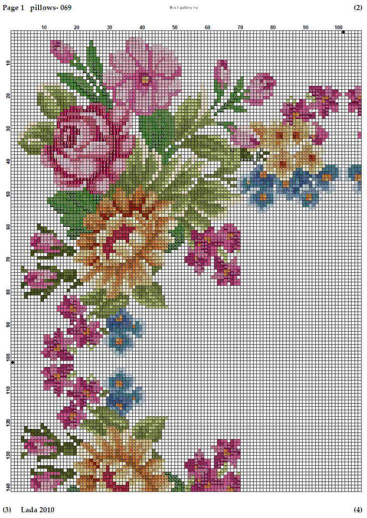 Cross stitch Sq. floral cushion part2