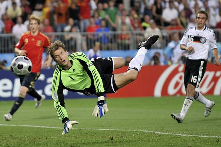 Spain 1 Germany 0 in 2008 in Vienna. Jens Lehmann watches the ball go wide of his post in the Final of Euro 2008.
