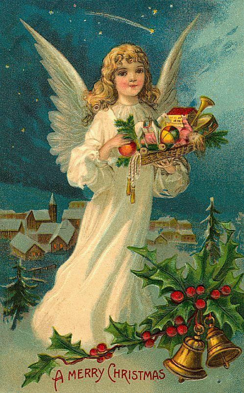 Днем, рождественские открытки с ангелам