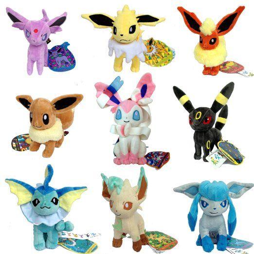 "One Set of 9 PCS Eeveelution Pokemon Sylveon Eevee Espeon Umbreon Jolteon Flareon Vaporeon Leafeon Glaceon Plush Toy Stuffed Animal Soft Figure Doll 7"""