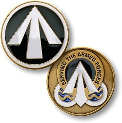 "The obverse features the official Surface Deployment and Distribution Command Shoulder Sleeve Insignia, which contains a white arrow - symbolizing the fast-moving, forward-oriented nature of the SDDC's work - set against a green field, which represents the ""Go,"" ""Can Do"" spirit of the command. The reverse contains the Surface Deployment and Distribution Command's Distinctive Unit Insignia, which bears the inscription: ""Serving the Armed Forces."""