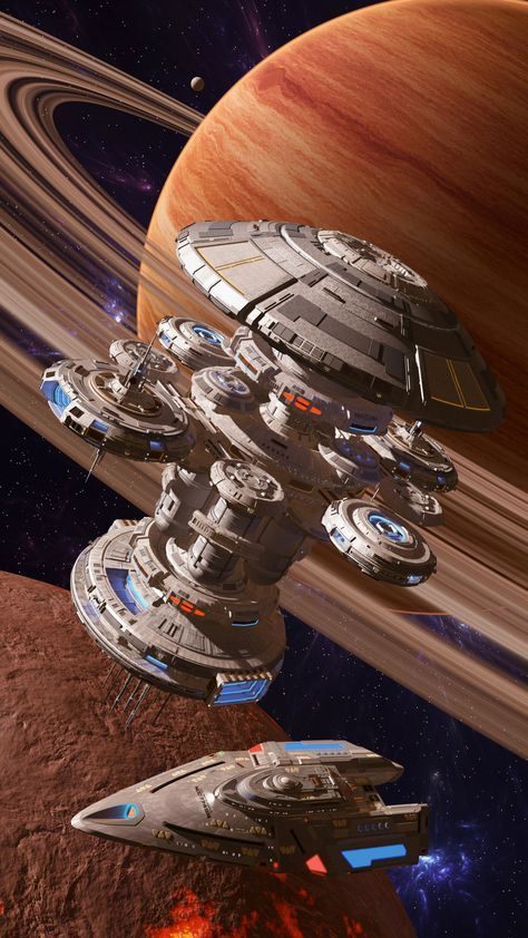 Spaceships Galore! — space station and space frigate #spaceship –...