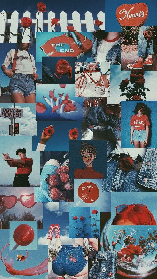 blue and red aesthetic | ♡
