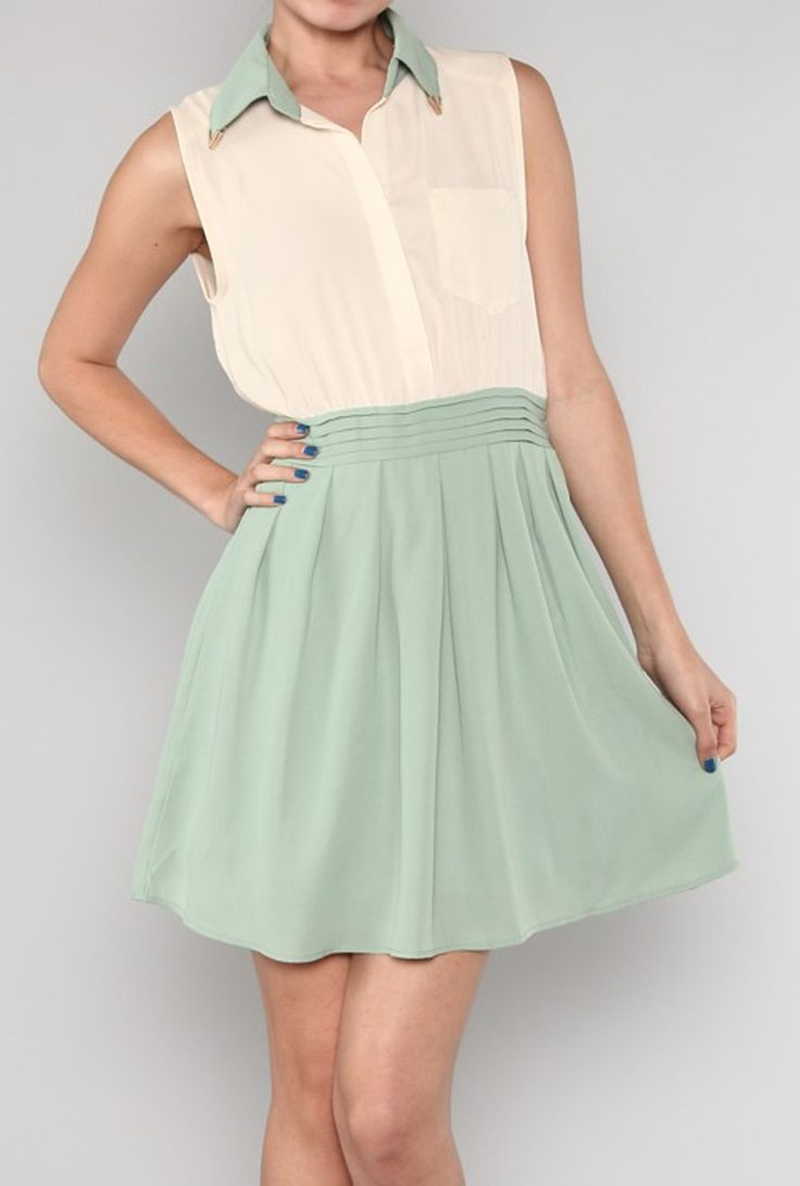 Dress Pastel Whispers Two Toned Dress With Collar Tips