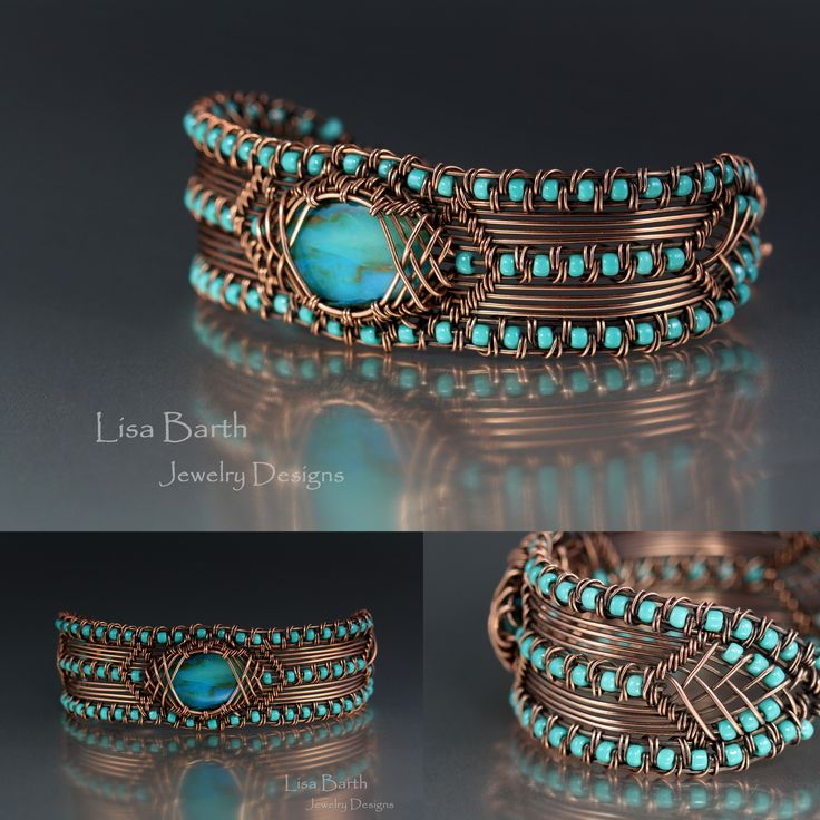 Hand woven copper bracelet with a Peruvian blue opal as the focal.  :) --Lisa Barth