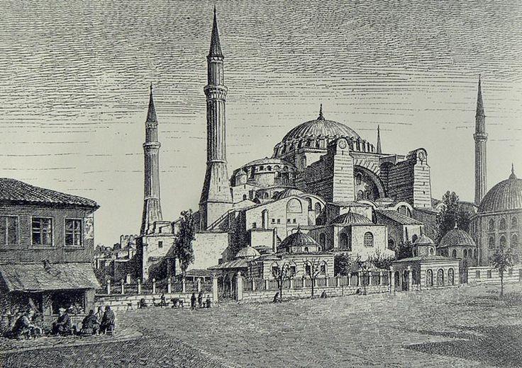 #Ayasofya ve çevresinin betimlendiği gravür. (Ch. de Billy - Le Petit, 1890) #İstanbul #AyaDer #Tarih #80YılOldu