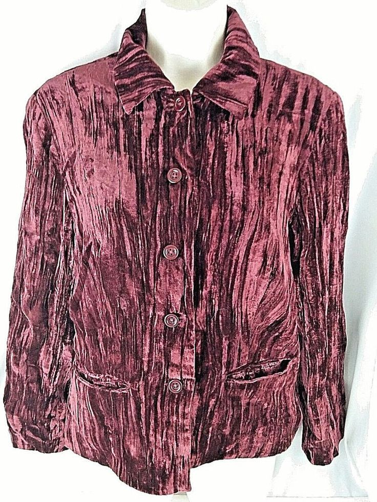 Coldwater Creek Womens Blazer Size PS Petite Small Red Burgundy Lined Pockets #ColdwaterCreek #Blazer