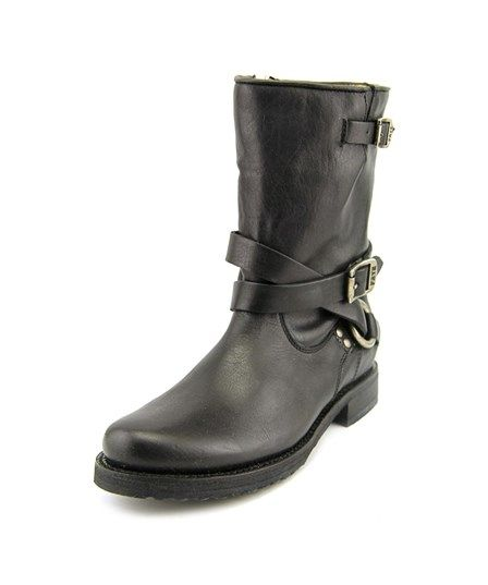 Frye Frye Veronica Criss Cross Short Women  Round Toe Leather Black Boot