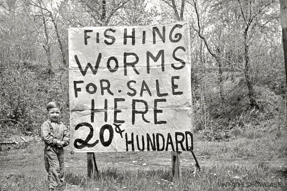 FiSHiNG WoRMS FoR SALE HERE 20c HUNDARD ..... by VintageShowcase,
