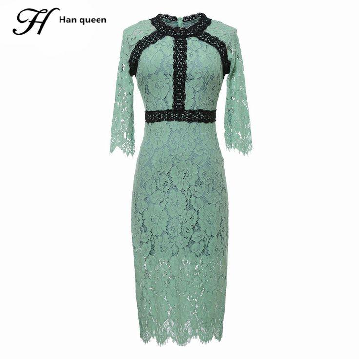 H Хан королева женские летние платья высокого класса Дамы Половина рукава образным вырезом шить кружева Одежда для вечеринок элегантные женские Тонкий сексуальное платье купить на AliExpress
