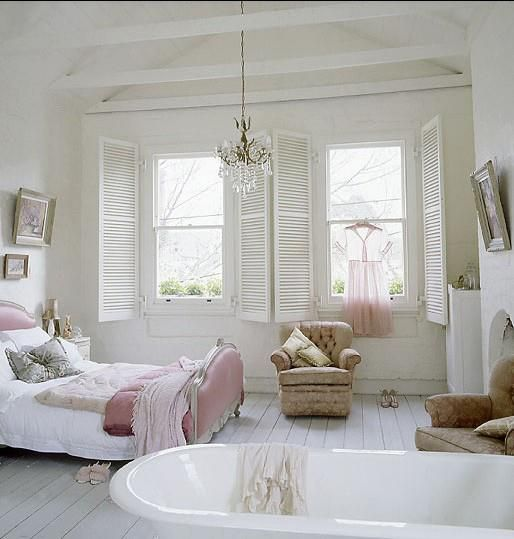 Vintage pink,white, bedroom  Love the beams across the top. I'd wrap white christmas lights around them.