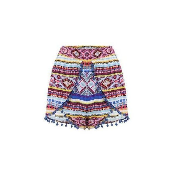Yoins Tribla Print Butterfly Front Shorts With Pom Pom Trim (19 BAM) via Polyvore featuring shorts, yoins, pompom shorts, pom pom shorts, tribal shorts, tribal pattern shorts and patterned shorts