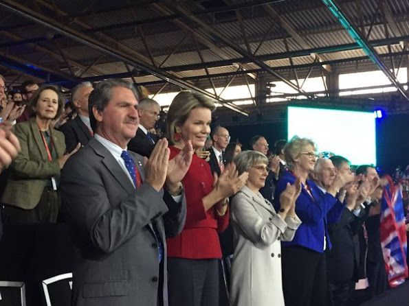 Queen Mathilde of Belgium attends the victory of Andy Murray over David Goffin of Belgium during day three of the Davis Cup Final 2015 between Belgium and Great Britain at Flanders Expo on November 29, 2015 in Ghent, Belgium.
