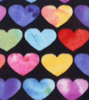 Anti Pill Fleece Fabric 59''-Multi Color Hearts on Black